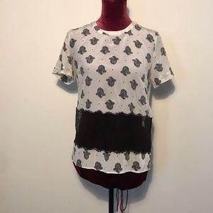 Sandro Paris paisley printed silk t shirt